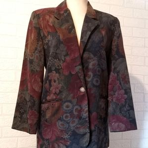 Vintage floral blazer and skirt suit